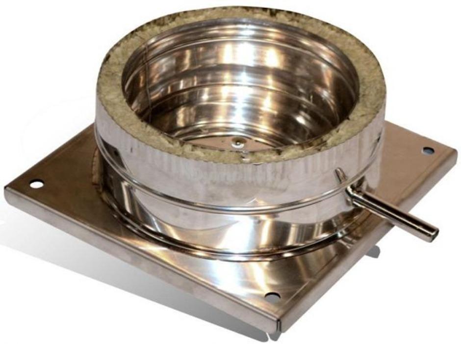 Підставка підлогова для димоходу двостінна з нержавіючої сталі Ø140/200 мм товщина 0,6 мм