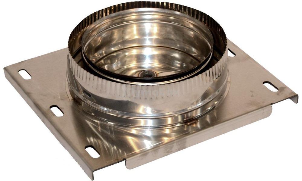 Підставка настінна для димоходу двостінна з нержавіючої сталі Ø130/200 мм товщина 0,6 мм