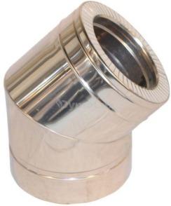Коліно димоходу двостінне з нержавіючої сталі 45° Ø125/200 мм товщина 0,8 мм