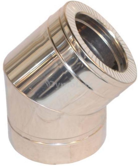 Коліно димоходу двостінне з нержавіючої сталі 45° Ø220/280 мм товщина 0,8 мм