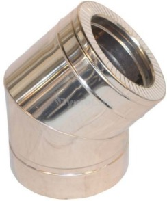 Коліно димоходу двостінне нерж/оцинк 45° Ø100/160 мм товщина 0,6 мм