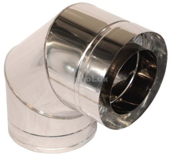 Коліно димоходу двостінне з нержавіючої сталі 90° Ø180/250 мм товщина 0,6 мм