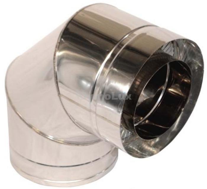 Коліно димоходу двостінне з нержавіючої сталі 90° Ø130/200 мм товщина 0,8 мм