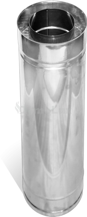 Труба дымоходная двустенная из нержавеющей стали 1 м Ø150/220 мм толщина 1 мм