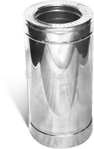 Труба димохідна двостінна з нержавіючої сталі 0,25 м Ø160/220 мм товщина 0,8 мм