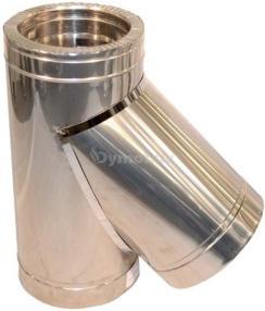 Трійник димоходу двостінний з нержавіючої сталі 45° Ø150/220 мм товщина 0,8 мм