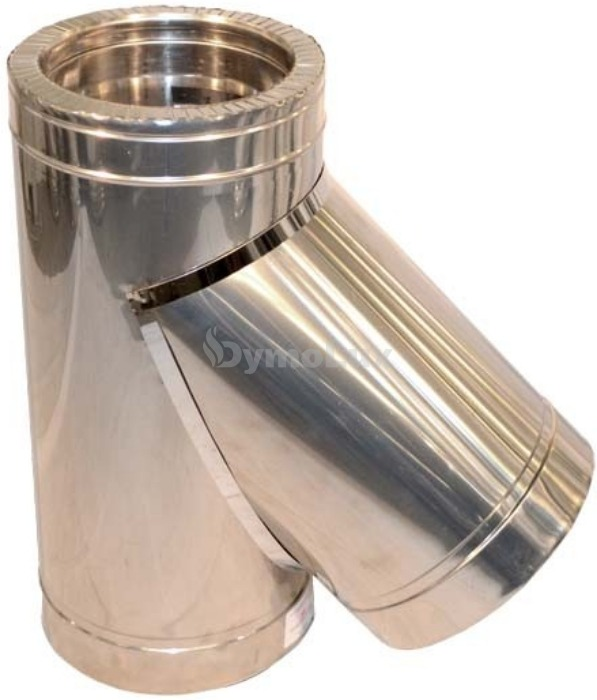 Трійник димоходу двостінний нерж/оцинк 45° Ø140/200 мм товщина 0,8 мм
