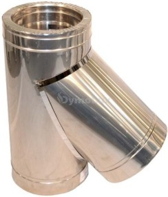 Трійник димоходу двостінний нерж/оцинк 45° Ø120/180 мм товщина 1 мм