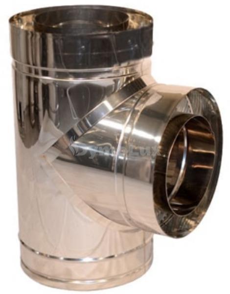 Трійник димоходу двостінний з нержавіючої сталі 87° Ø140/200 мм товщина 0,8 мм
