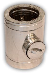 Ревізія димоходу двостінна нерж/оцинк Ø110/180 мм товщина 0,8 мм