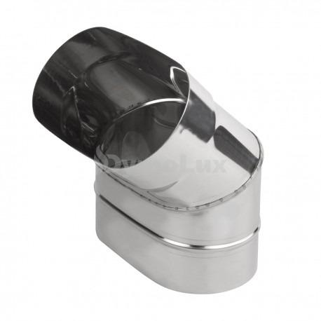 Коліно димохідне овальне 45° з нержавіючої сталі товщина 0,6 мм (згинання по довшій стороні)