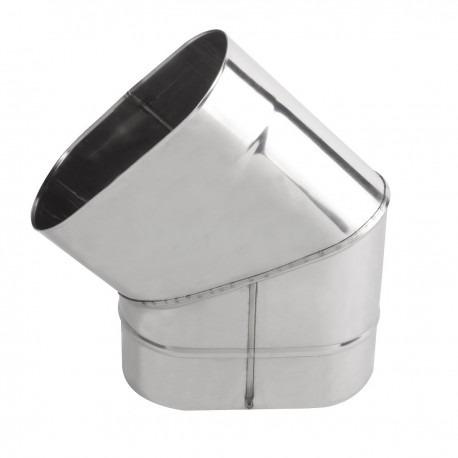 Коліно димохідне овальне 45° з нержавіючої сталі товщина 0,6 мм (згинання по коротшій стороні)