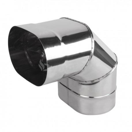 Коліно димохідне овальне 90° з нержавіючої сталі товщина 0,6 мм (згинання по довшій стороні)
