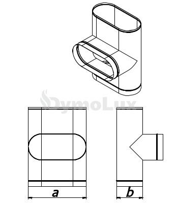 Трійник димохідний овальний 87° з нержавіючої сталі товщина 0,6 мм (врізка по довшій стороні)
