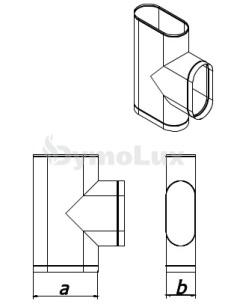 Трійник димохідний овальний 87° з нержавіючої сталі товщина 0,6 мм (врізка по коротшій стороні)