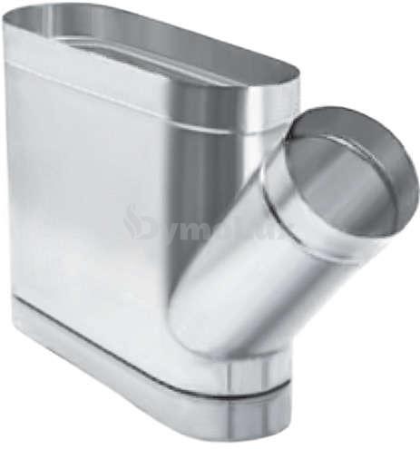Трійник димохідний овальний 45° з нержавіючої сталі товщина 0,6 мм (кругла врізка по коротшій стороні)