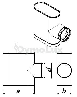 Трійник димохідний овальний 87° з нержавіючої сталі товщина 0,6 мм (кругла врізка по коротшій стороні)