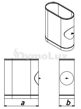 Ревизия дымоходная овальная из нержавеющей стали толщина 0,6 мм (с люком на короткой стороне)