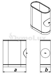 Ревізія димохідна овальна з нержавіючої сталі товщина 0,6 мм (з люком на коротшій стороні)