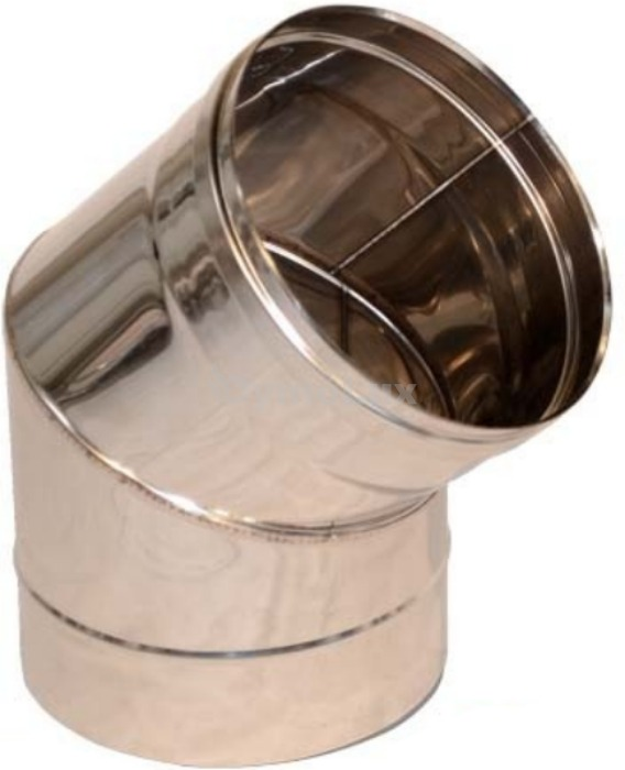 Дымоходное колено из нержавеющей стали 45° Ø100 мм толщина 1 мм