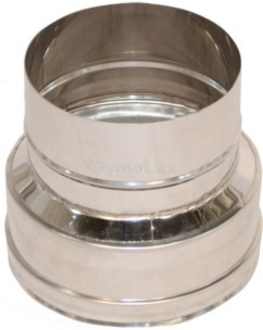 Перехід димохідний з нержавіючої сталі Ø100 мм товщина 0,8 мм